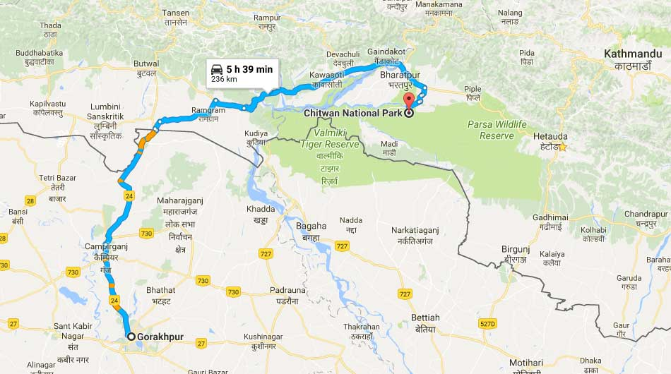 How to reach Chitwan National Park from India?